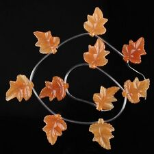 J60372 32x26mm Gemstone carved yellow aventurine leaf loose beads 10pcs