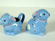 Sugar & Creamer Spoon Otagiri Blue Bunny Bunnies Rabbit Pink Bows New Fitz Floyd