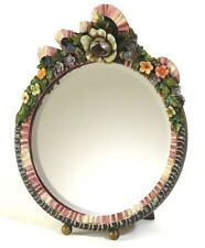 FABULOUS ROUND BARBOLA TABLE MIRROR COLOURFUL PROFUSE FLORAL FRAME SHABBY CHIC