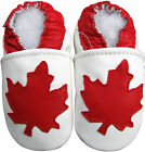 carozoo soft sole leather kids shoes maple leaf white 5-6yrs