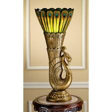 Art Deco Peacock Antique Gold & Teal Plumage Sculptural Table Lamp