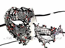 Couple Men Women Half Face Metal Evil Skull And One Eye Phantom Masquerade Masks