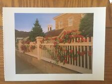 POSTCARD UNUSED CONNECTICUT, MYSTIC SEAPORT--RED ROSES AND FENCE