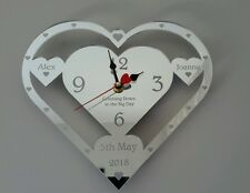 WEDDING DAY CLOCK BRIDE AND GROOM PRESENT ENGRAVED WEDDING GIFT PERSONALISED