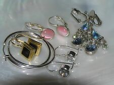 Estate Lot of 4 Pink Oval Moonglow White Round Clear Rhinestone Plain Silvertone