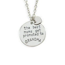 The Best Moms Get Promoted To Grandma Stamped Necklace