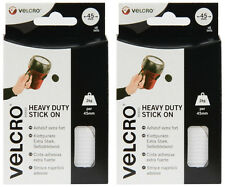 2x VELCRO Heavy Duty Stick on Self-Adhesive Giant Coins - White - 45mm - 6 Pack