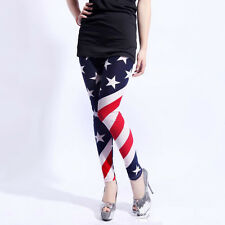 American Flag Printed Jeggings Stretch Pants Leggings Pencil Womens Trousers