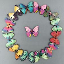 50 Pcs Mixed Bulk Butterfly Phantom Wooden Sewing Buttons Scrapbooking 2 Holes