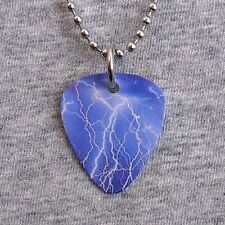 Metal Guitar Pick Necklace LIGHTNING storm bolt thunder severe weather pendant