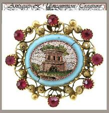 Antique Victorian Era Micro Mosaic 18k Gold & Ruby Brooch, Architectural