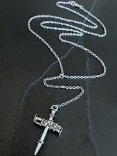 Silver Nail Cross Y Drop Necklace on Stainless Steel Chain / Rosary / Religious