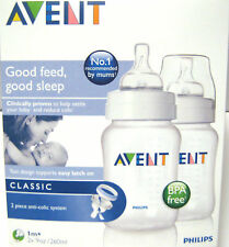 PHILIPS AVENT  260ML CLASSIC  FEEDING BOTTLES  TWIN PACK  1M+ BPA FREE
