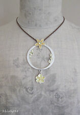 Vintage PILGRIM Necklace ENCHANTED FLOWER Yellow Enamel & Swarovski Silver BNWT