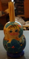"""russian wood  toothpick hand painted doll 3.5"""""""