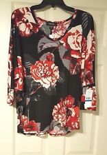 Karen Kane Women's XL top Pullover Mixed Rose Black Gray Red Easy Fit  NWT $78