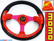 MOMO 350mm DEEP DISH STEERING WHEEL RED/BLACK Rally Drift OMP NARDI SPARCO  19-2