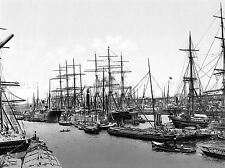SAILING SHIPS AT ASIAKAI HAMBURG GERMANY 1895 OLD BW PHOTO PRINT POSTER 719BWLV
