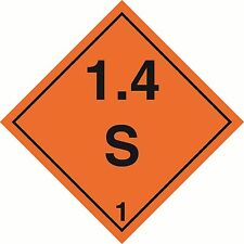 Health and Safety Hazard Sticker Explosive 1.4S Sticker Orange