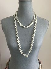 New Long Elegant Natural Freshwater Pearl necklace Silver Grey 52 Inches