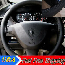 Black Practical Genuine Leather DIY 37-38cm Diameter Steering Wheel Cover Needle