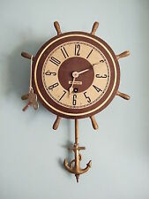 Vintage Plymouth Ship Wheel Nautical Wall Clock - Anchor Pendulum