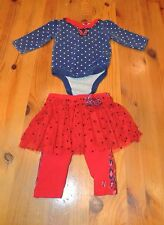 """Infant Girls """"Truly Scrumptios by Heidi Klum"""" Blue and Red Tutu Outfit, size 3M"""
