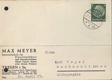 TREUEN, Postkarte 1937, Max Meyer Spazialfabrik Klarinetten-Saxofon-Blätter