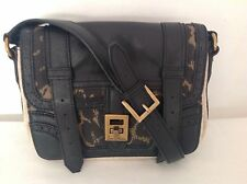 New Gen.Sam Edelman Leopard Canvas Black Leather Parisian Street Cross Body Bag