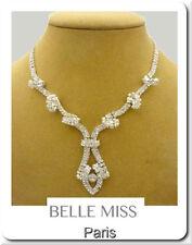 Luxus Kette Belle Miss Paris Halskette Collier Hochzeit Strass Versilbert Braut