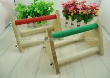 Wooden Parrot Bird Standing Perch Fun Play Cage Toy Parakeet Claws Grinding SM1