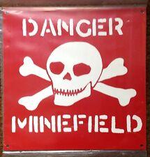 METAL SIGN - DANGER MINEFIELD - SKULL & CROSSBONES