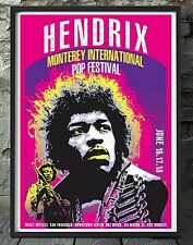 Jimi Hendrix monterey poster. Celebrating famous gigs. Specially created.