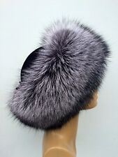 Silver Fox Fur Hat with Suede. TOP Quality Real Genuine Fur. Silver Fox + Suede