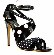 MANOLO BLAHNIK Black White Satin Polka Dot Ankle Wrap Pump Open Toe New sz 41.5