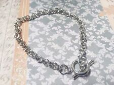 "Charm Bracelet Blank Antiqued Silver Link Chain Rolo 8 5/8"" Toggle Wholesale"