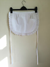 White Waitress Maid Kitchen Restaurant Cooking Half Pinny Apron With Pocket
