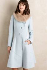 Anthropologie Elevenses Lt Blue Boucle Collared Beatrix Princess Coat Size 4 NWD