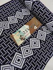 White & Navy Cotton Yukata Fabric Bolt w/Dyed Pttns E356