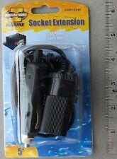 Plug & Socket 5'  Coiled Extension Cord 12V Cigarette Lighter Fused LED