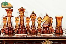 Amber - Large 40cm / 16in Handcrafted Classic Plastic Chess Set