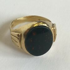 Vintage 18ct Yellow Gold Men's Bloodstone Pinky Signet Ring Size J 1/2 - K