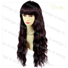 Super model Curly Wavy Brown & Burgundy Long Ladies Wigs skin top Hair WIWIGS UK