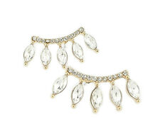 Marquise Crystal Ear Crawler Earrings Rhinestone Yellow Gold Cuff Climber Hooks
