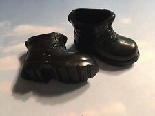 BARBIE KEN DOLL BLACK HIKING WORK BOOTS / SHOES LACE UP