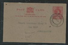 SWAZILAND (P1106B) 1951 KGVI 1D PSC MBABANE TO JOHANNESBURG WITH MSG