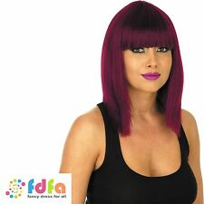 STRAIGHT BURGUNDY CANDY GIRL MODEL WIG HALLOWEEN - womens fancy dress accessory