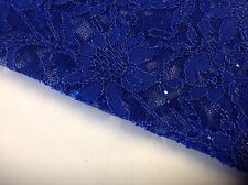 "NEW Royal Blue Corded Stretch Lace Fabric Royal Blue Sequins Blings 60""153cm Sew"