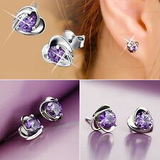 Women New Fashion Heart Rhinestone Silver Plated Ear Studs Earrings