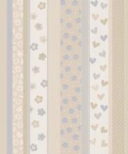 Vlies Tapete Kinderzimmer Kids & Teens 459319 Streifen Blumen Herzen creme beige